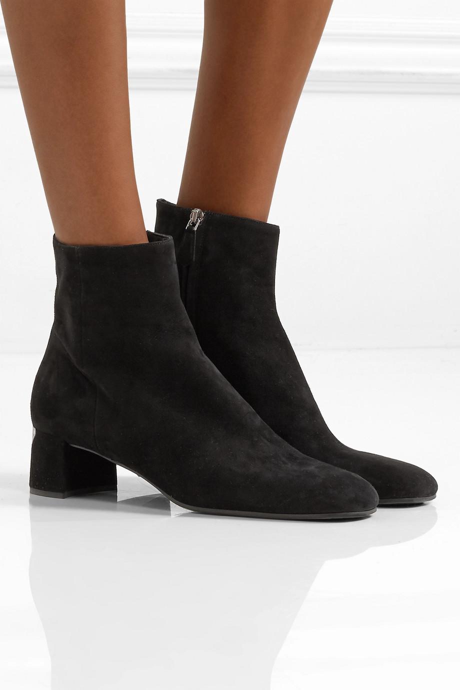 Prada 45 logo-appliquéd suede ankle boots