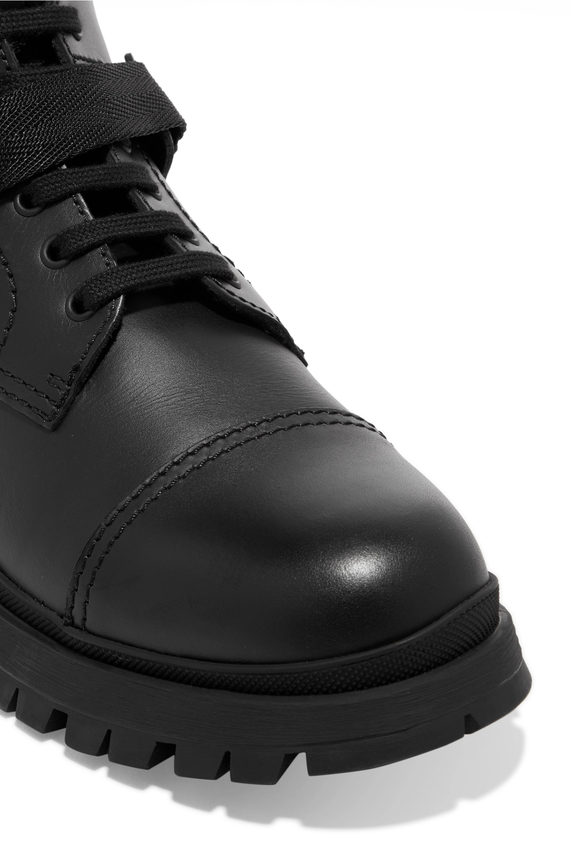 Prada Logo-embossed rubber and neoprene-trimmed leather ankle boots
