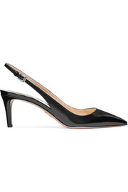 Prada Textured patent-leather slingback pumps