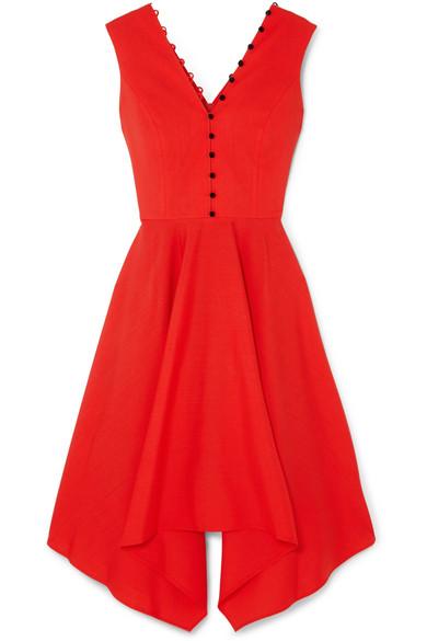ADEAM Asymmetric Wool-Blend Crepe Dress