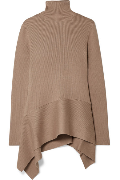 Asymmetric Ribbed Silk Blend Turtleneck Sweater by Adeam