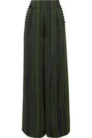 ADEAM Striped satin wide-leg pants
