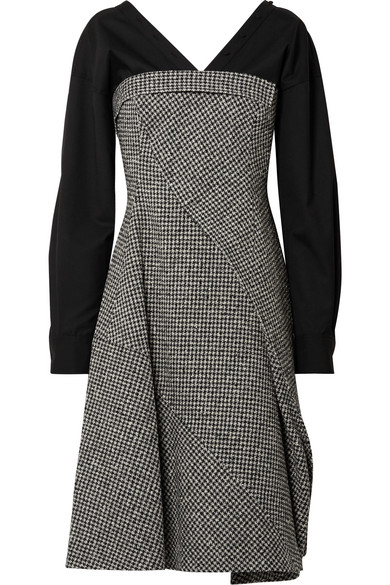 ADEAM Layered Houndstooth Wool-Blend And Cotton-Blend Midi Dress, Gray