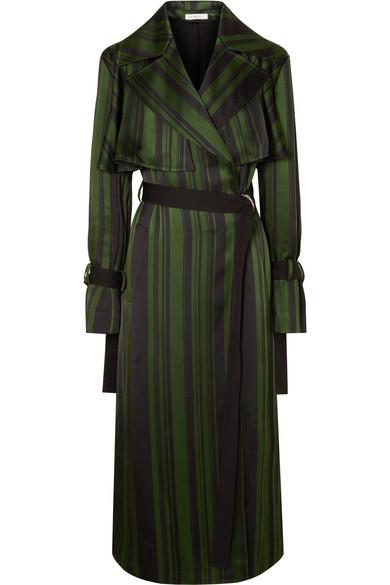 ADEAM Striped Satin Trench Coat