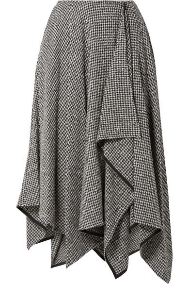 ADEAM Asymmetric Houndstooth Wool-Blend Midi Skirt