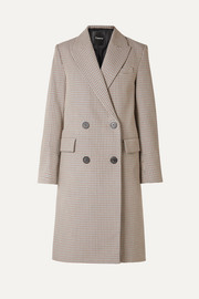 Genesis double-breasted houndstooth cotton and wool-blend coat