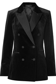 Double-breasted satin-trimmed cotton-velvet blazer