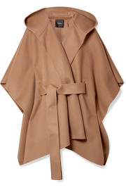 New Divide belted hooded wool and cashmere-blend poncho