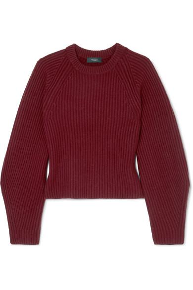 Theory - Huron Ribbed-knit Merino Wool Sweater - Dark purple