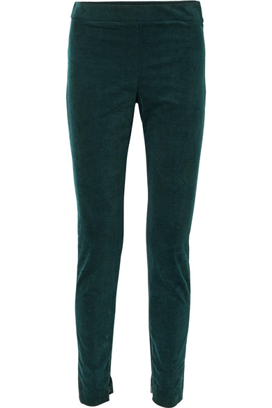 Theory - Cotton-blend Corduroy Leggings - Forest green