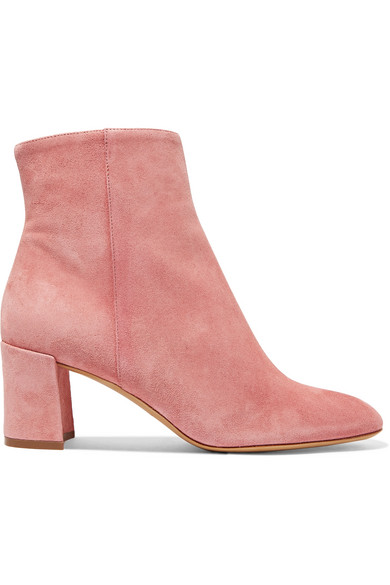 Ankle Boots In Blush Suede Leather