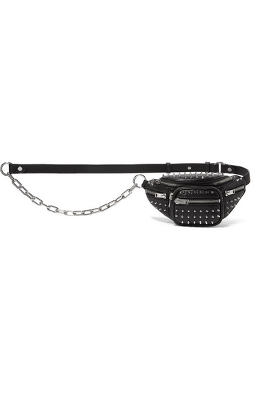Attica Studded Leather Belt Bag, Black