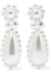 Simone Rocha Silver-plated faux pearl earrings