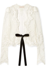 Jaira velvet-trimmed embroidered tulle jacket