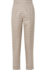 Peregrine cotton and silk-blend brocade tapered pants