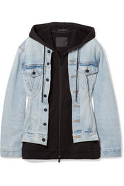 Joint Mix hooded layered cotton-jersey and denim jacket
