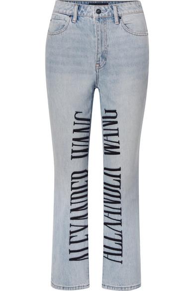 Cult Embroidered High-Rise Straight-Leg Jeans, Light Denim
