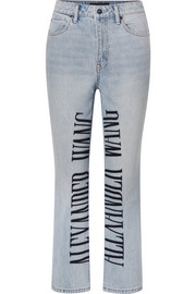 Cult embroidered high-rise straight-leg jeans