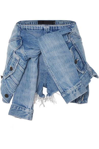 Tie-Front Denim Shorts, 450 Vntligh