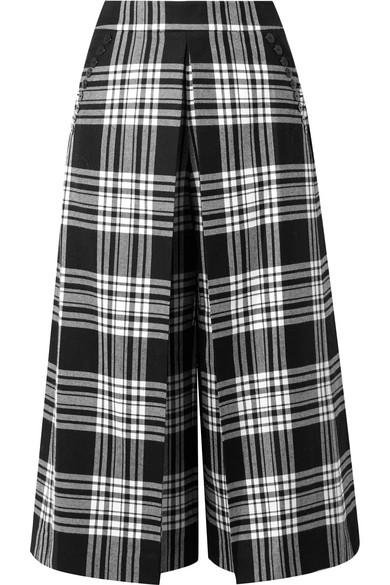 Pleat Front Wool Wide Leg Crop Pants in Black