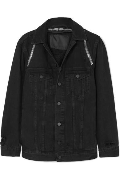 Black Daze Zip Distressed Denim Jacket in 018 Blackfa