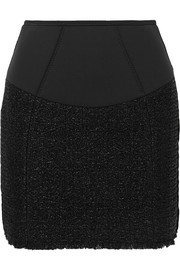 Velvet-trimmed tweed and scuba mini skirt