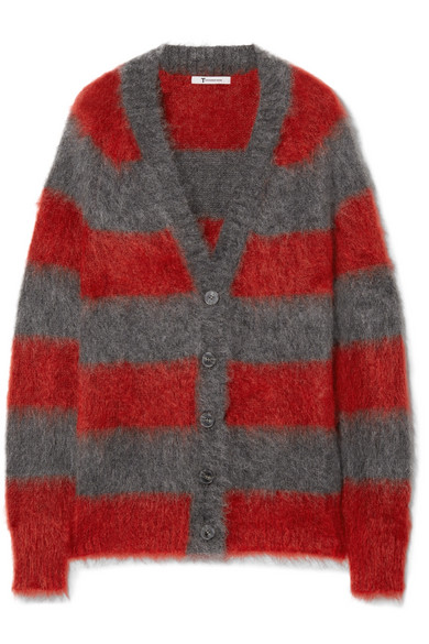 T by Alexander Wang - Striped Mohair-blend Cardigan - Red