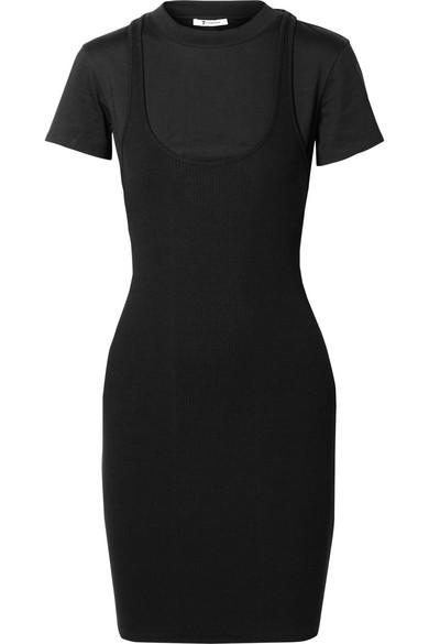 Alexanderwang.T Black Variegated Combo Dress in 001 Black