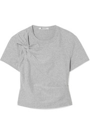 Cropped twist-front stretch-cotton jersey T-shirt