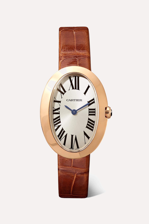 Cartier Baignoire 24.5mm small 18-karat pink gold and alligator watch