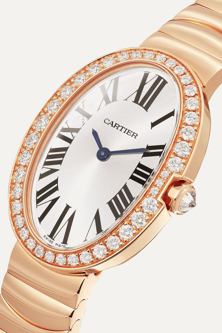 Cartier Montre en or rose 18 carats et diamants Baignoire Small 24,5 mm