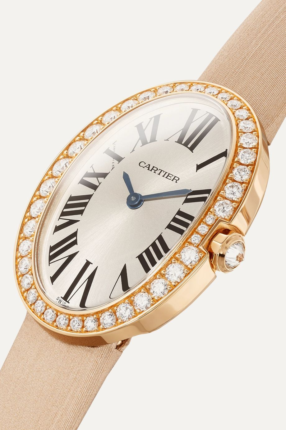 Cartier Baignoire 24.5mm small 18-karat pink gold, toile brossée and diamond watch