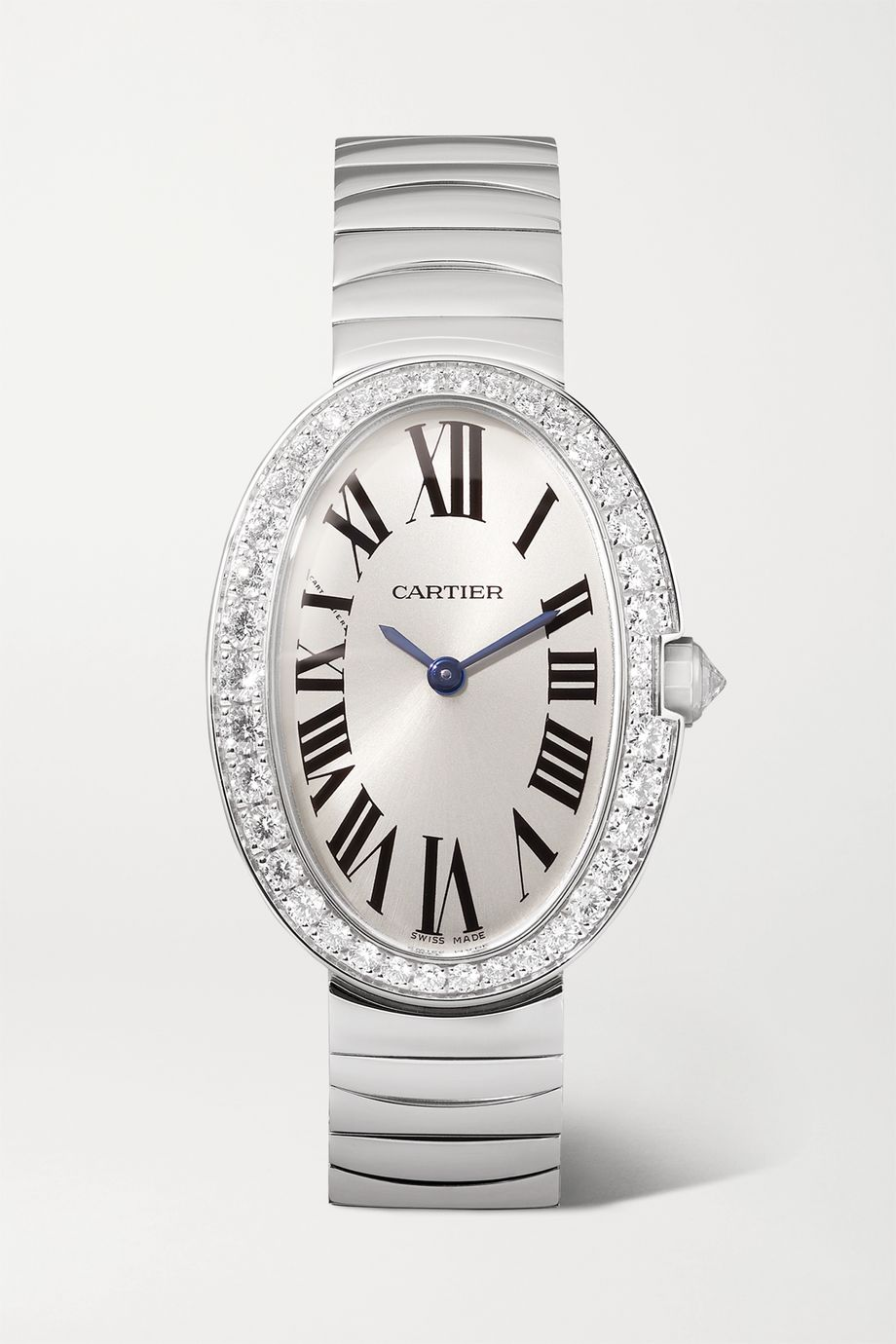 Cartier Montre en or blanc 18 carats et diamants Baignoire Small 24,5 mm