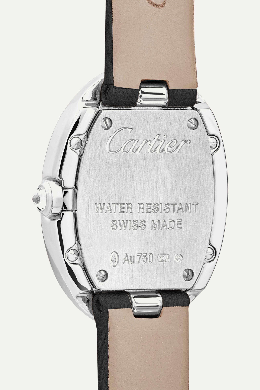 Cartier Baignoire 24.5mm small 18-karat white gold, toile brossée and diamond watch