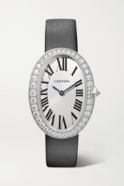 Baignoire 24.5mm small 18-karat white gold, toile brossée and diamond watch