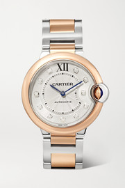 Cartier Montre en or rose 18 carats, acier inoxydable et diamants Ballon Bleu de Cartier 36 mm