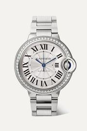 Cartier Montre en acier inoxydable et diamants Ballon Bleu de Cartier Automatic 36 mm