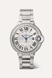 Cartier Montre en acier inoxydable et diamants Ballon Bleu de Cartier 33 mm