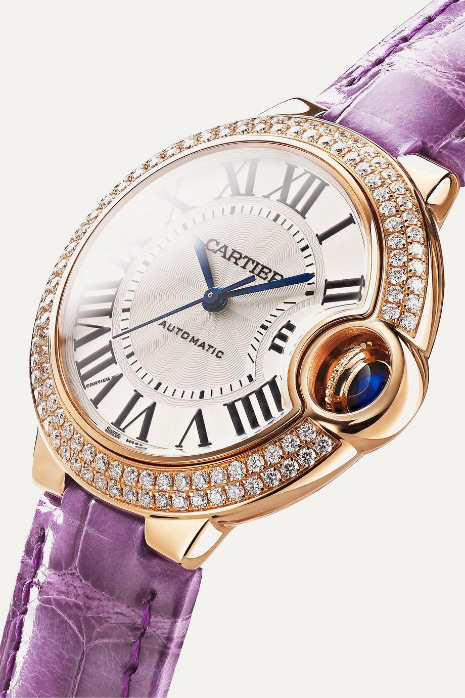 Cartier Ballon Bleu de Cartier 33 毫米 18K 玫瑰金钻石腕表(短吻鳄鱼皮表带)