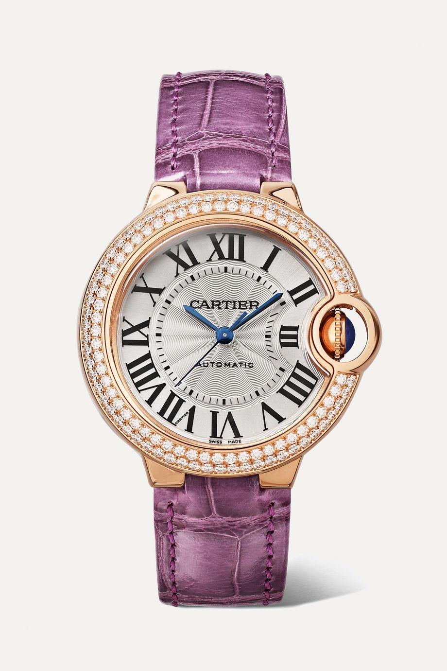 Cartier Ballon Bleu de Cartier 33mm 18-karat pink gold, alligator and diamond watch