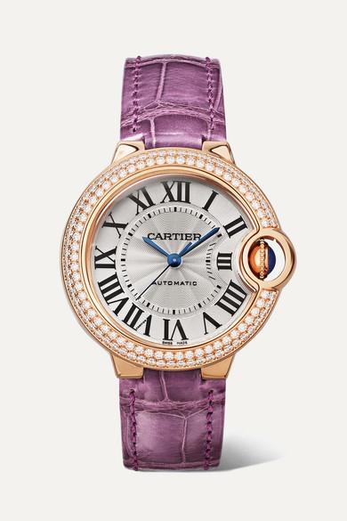Cartier - Ballon Bleu De Cartier 33mm 18-karat Pink Gold, Alligator And Diamond Watch