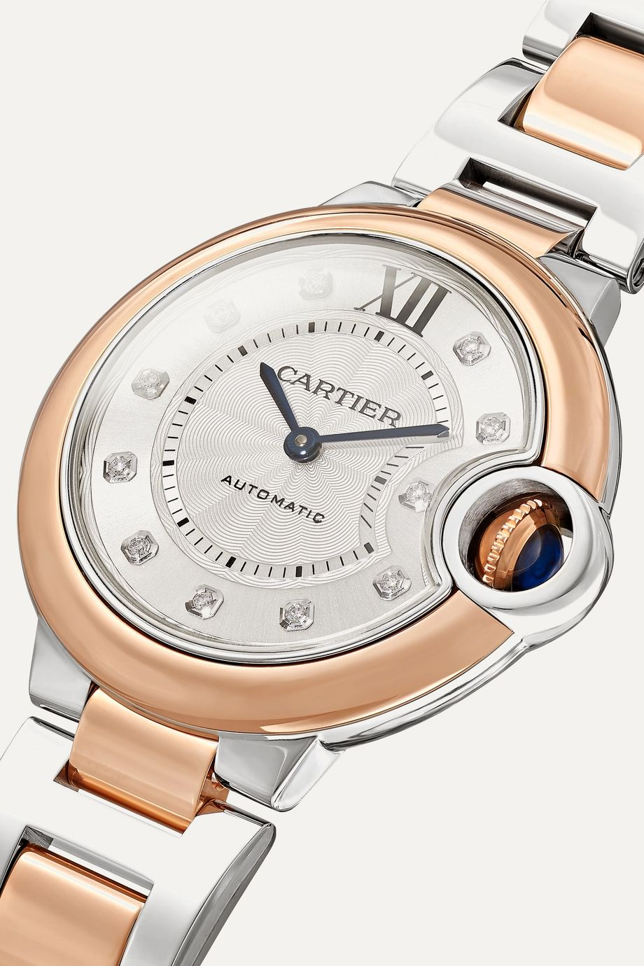 Cartier Ballon Bleu de Cartier 33mm 18-karat pink gold, stainless steel and diamond watch