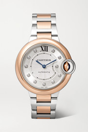 Cartier Montre en or rose 18 carats, acier inoxydable et diamants Ballon Bleu de Cartier 33 mm