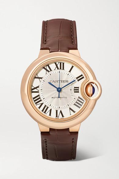 Cartier Ballon Bleu de Cartier 33mm 18-karat pink gold and alligator watch