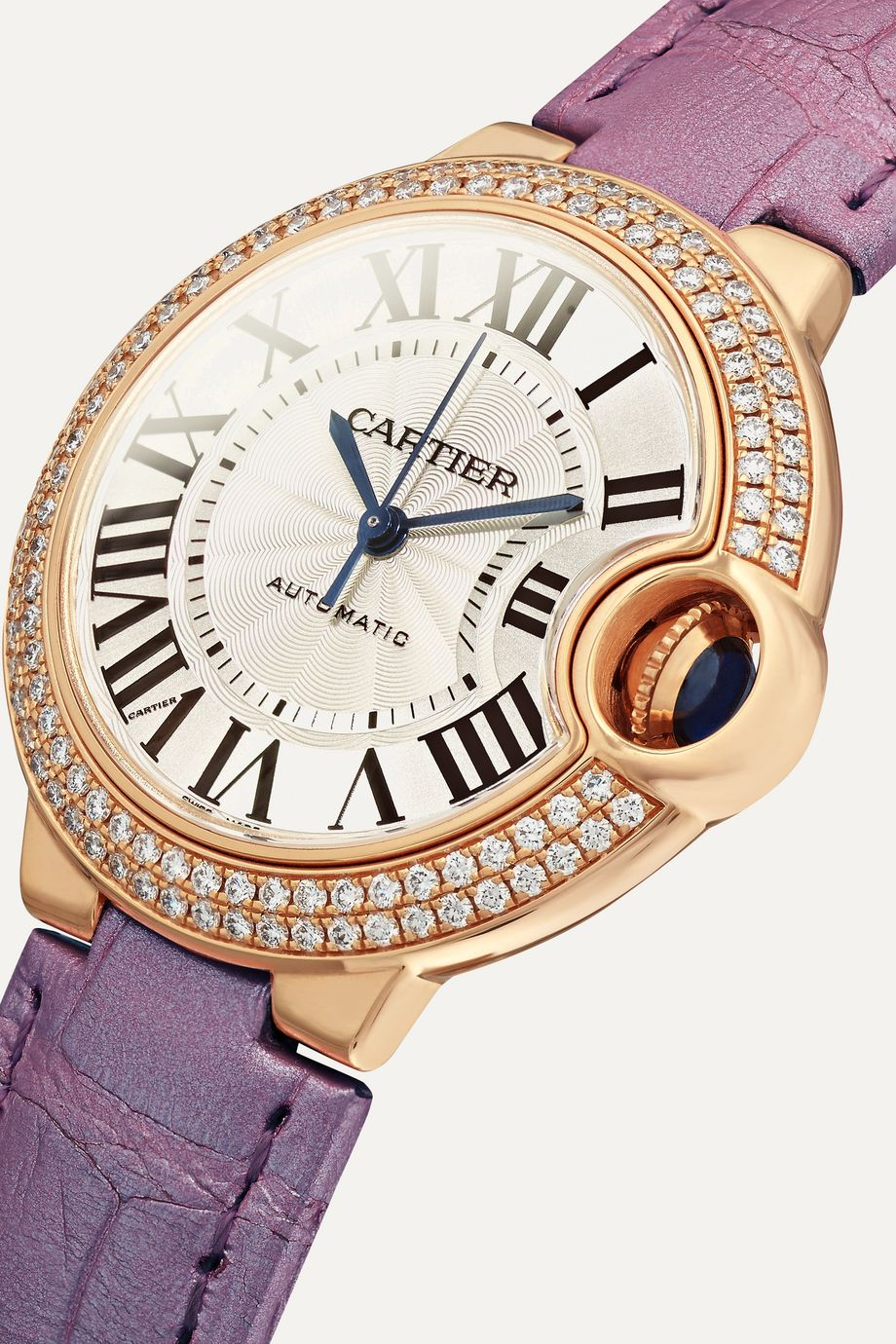 Cartier Montre en or rose 18 carats et diamants à bracelet en alligator Ballon Bleu de Cartier Automatique 36 mm