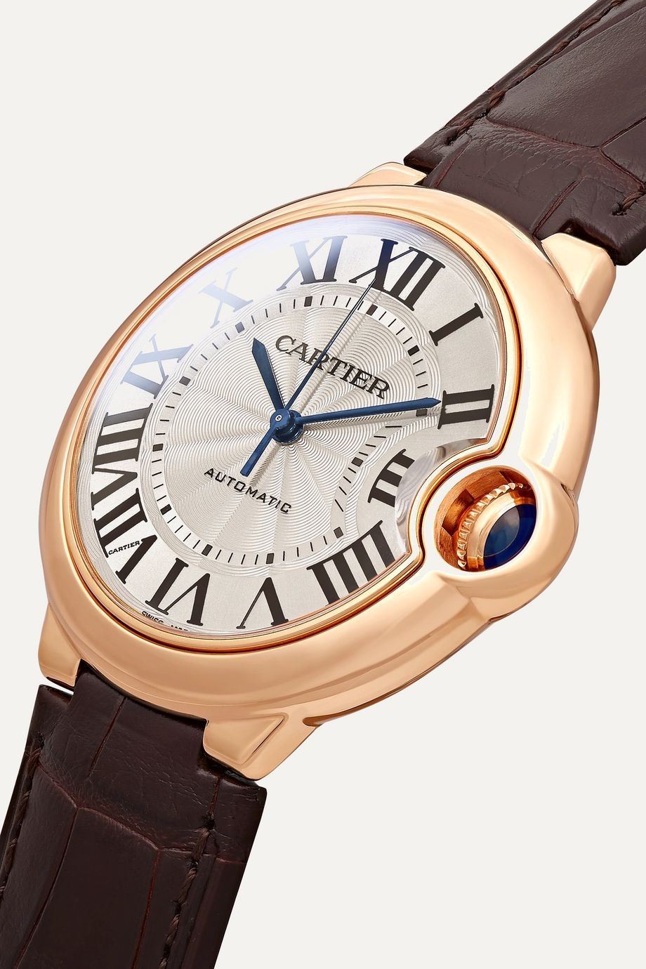 Cartier Montre en or rose 18 carats à bracelet en alligator Ballon Bleu de Cartier 36 mm