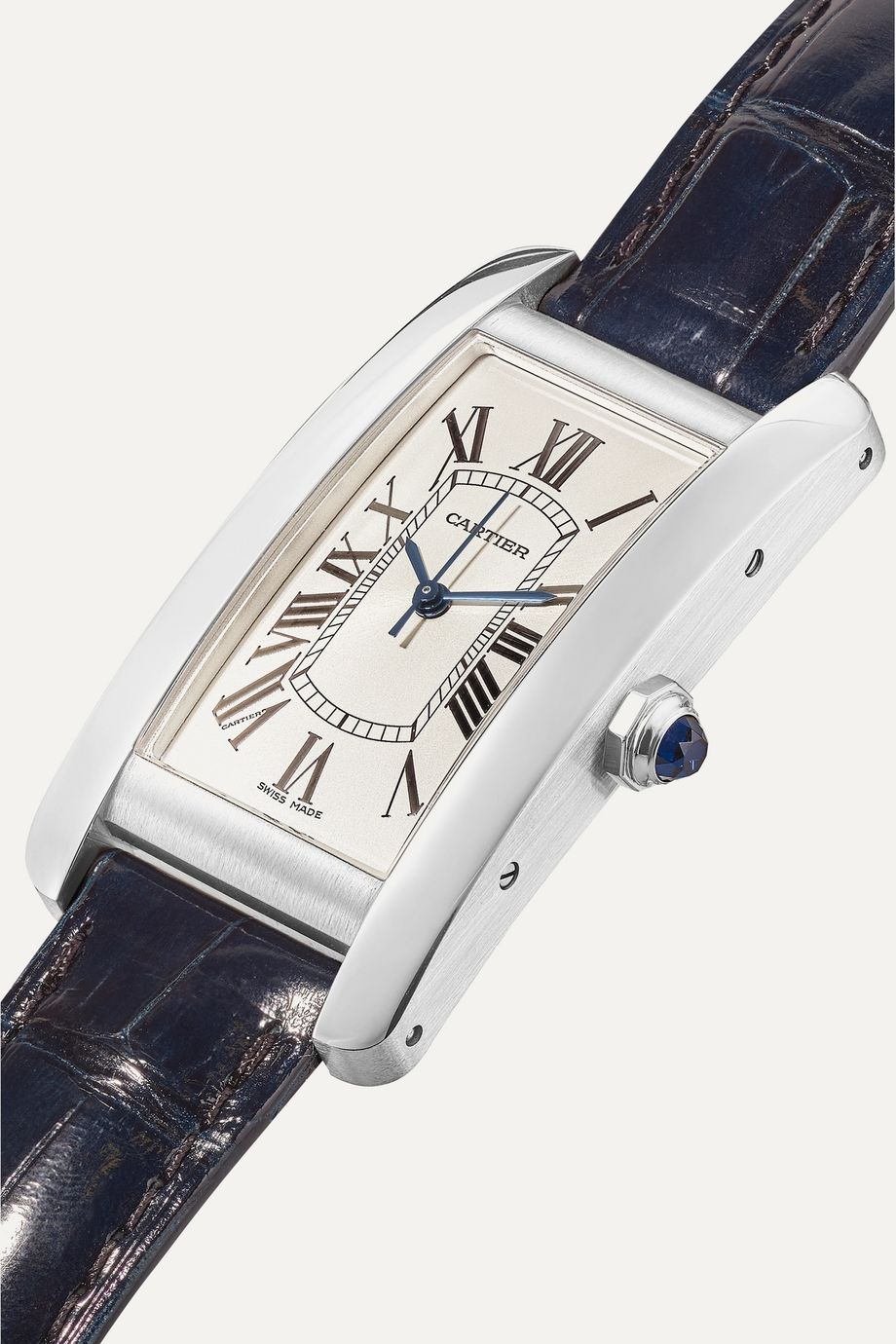 Cartier Montre en acier inoxydable à bracelet en alligator Tank Américaine Medium 22,6 mm
