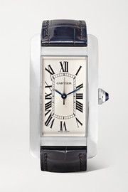 Cartier Tank Américaine 22.6mm medium stainless steel and alligator watch
