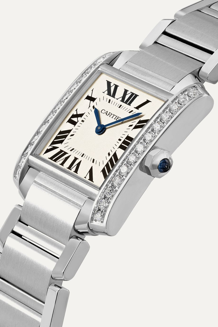 Cartier Tank Française 25.05mm medium stainless steel and diamond watch