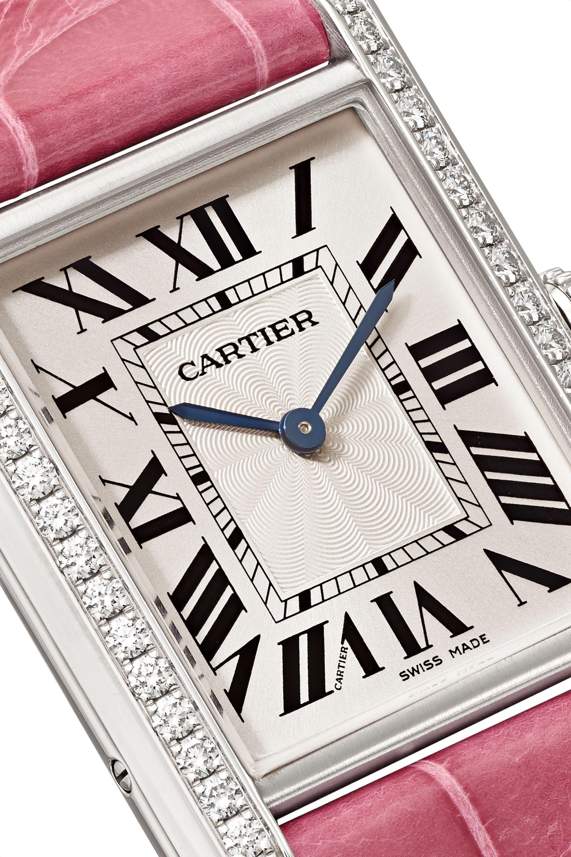 Cartier Tank Louis Cartier 25.5mm large rhodiumized 18-karat white gold, alligator and diamond watch
